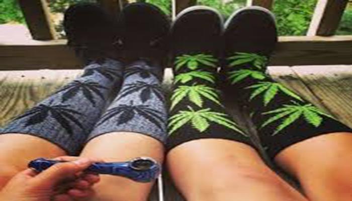 matching couple cannabis leaf socks